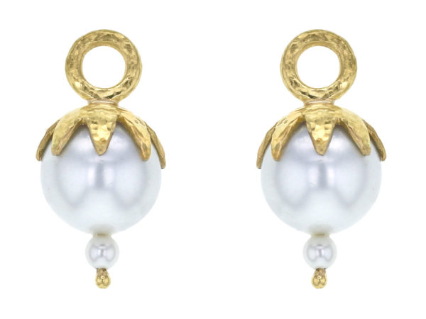 Elizabeth Locke Freshwater Pearl Earring Charms for Hoops with Eggplant Cap thumbnail