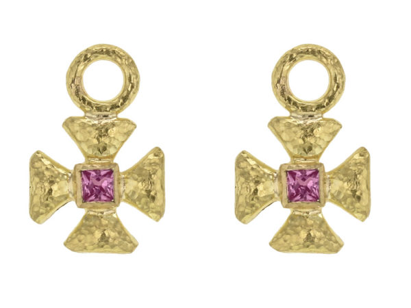 Elizabeth Locke Small Maltese Cross Earring Charms for Hoops with Pink Sapphire Center thumbnail