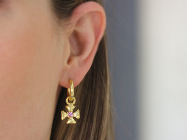 Elizabeth Locke Small Maltese Cross Earring Charms for Hoops with Pink Sapphire Center