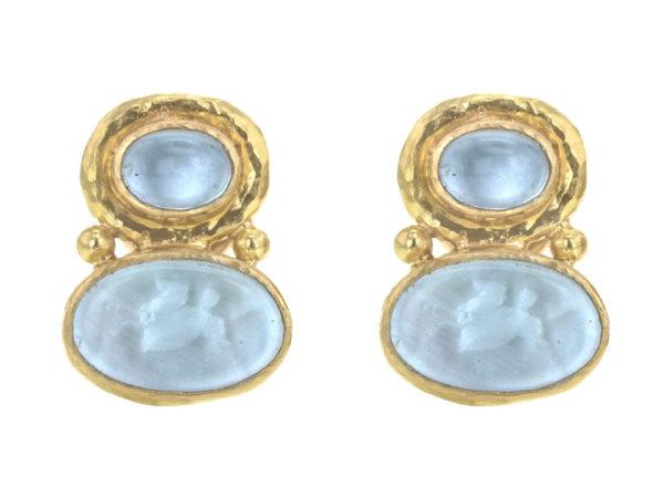 "Elizabeth Locke Cabochon Aquamarine over Light Aqua Venetian Glass Intaglio ""Flying Pegasus"" Earrings thumbnail"