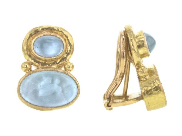 "Elizabeth Locke Cabochon Aquamarine over Light Aqua Venetian Glass Intaglio ""Flying Pegasus"" Earrings model shot #2"