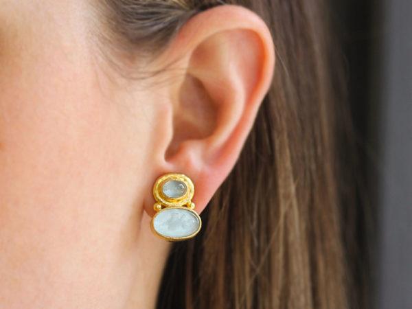 "Elizabeth Locke Cabochon Aquamarine over Light Aqua Venetian Glass Intaglio ""Flying Pegasus"" Earrings"