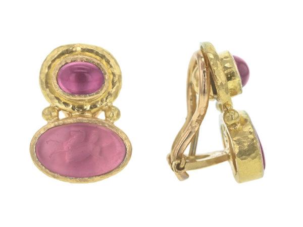"Elizabeth Locke Cabochon Pink Tourmaline over Pink Venetian Glass Intaglio ""Flying Pegasus"" Earrings model shot #2"