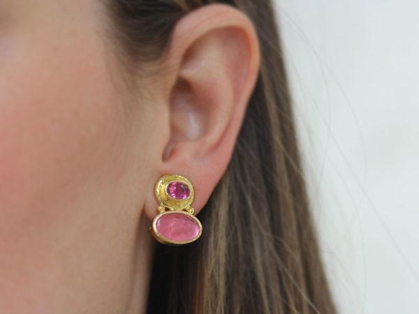 "Elizabeth Locke Cabochon Pink Tourmaline over Pink Venetian Glass Intaglio ""Flying Pegasus"" Earrings"