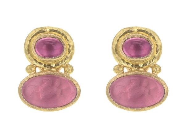 "Elizabeth Locke Cabochon Pink Tourmaline over Pink Venetian Glass Intaglio ""Flying Pegasus"" Earrings thumbnail"
