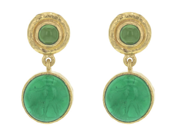 "Elizabeth Locke Green Venetian Glass Intaglio ""Cab Putto and Duck"" Stud Earrings With Chrome Diopside thumbnail"