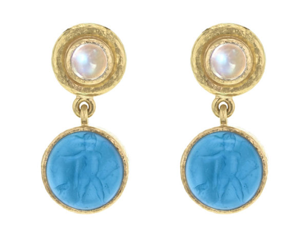"Elizabeth Locke Swimming Pool Blue Venetian Glass Intaglio ""Cab Putto and Duck"" Stud Earrings With Moonstone thumbnail"