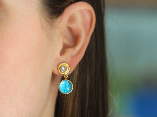 "Elizabeth Locke Swimming Pool Blue Venetian Glass Intaglio ""Cab Putto and Duck"" Stud Earrings With Moonstone"
