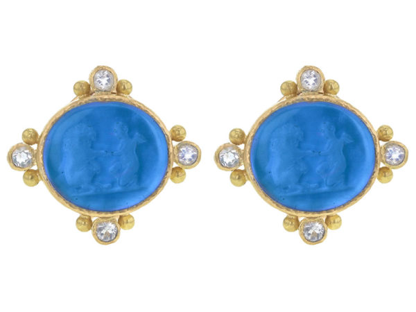 """Elizabeth Locke Peacock Venetian Glass Intaglio """"Lion and Putto"""" Earrings with Faceted Moonstone thumbnail"""