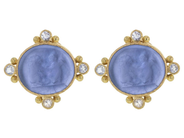 "Elizabeth Locke Cerulean Venetian Glass Intaglio ""Lion and Putto"" Earrings with Faceted Moonstone thumbnail"