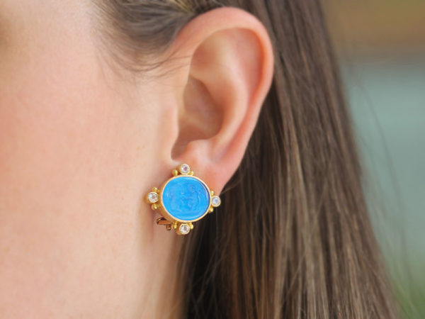 """Elizabeth Locke Peacock Venetian Glass Intaglio """"Lion and Putto"""" Earrings with Faceted Moonstone"""