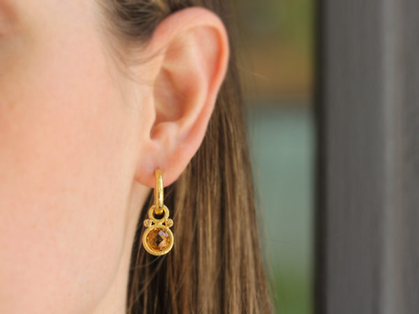 Elizabeth Locke Round Faceted Citrine Earring Charms with Spessartite Garnet
