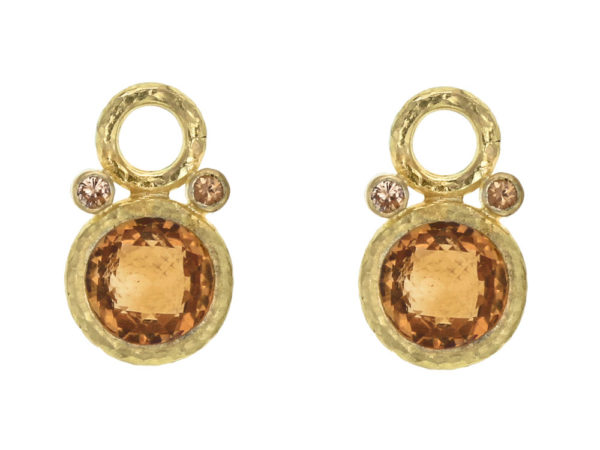 Elizabeth Locke Round Faceted Citrine Earring Charms with Spessartite Garnet thumbnail