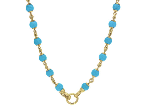 """Elizabeth Locke 17"""" Turquoise Bead & Gold Link Necklace with Circle Clasp thumbnail"""