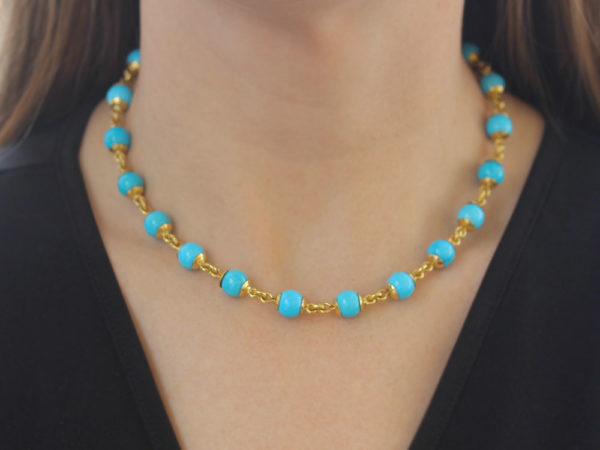 "Elizabeth Locke 17"" Turquoise Bead & Gold Link Necklace with Circle Clasp model shot #2"