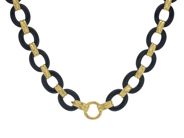 """Elizabeth Locke 17"""" Black Jade Link Necklace with Banded Gold Connectors with Ring Closure thumbnail"""