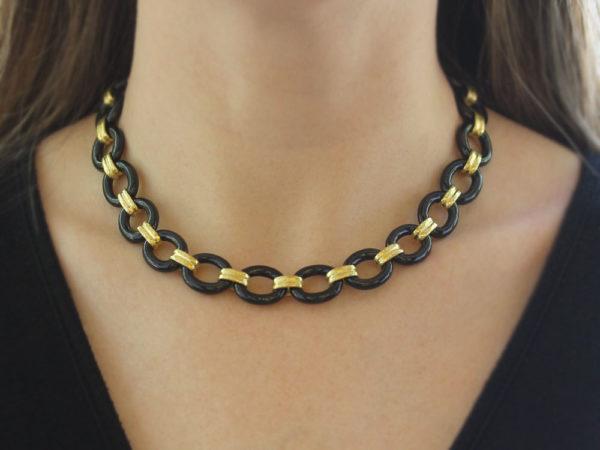 "Elizabeth Locke 17"" Black Jade Link Necklace with Banded Gold Connectors with Ring Closure"