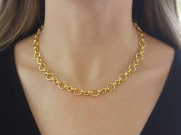 "Elizabeth Locke 17"" ""Bellariva"" Gold Round Link Necklace"
