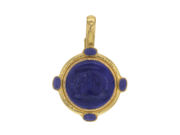 "Elizabeth Locke Lapis ""Elephant"" Round Seal Pendant With Iolite Stones and Thin Hinged Bale thumbnail"