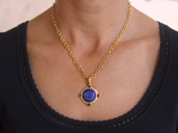 "Elizabeth Locke Lapis ""Elephant"" Round Seal Pendant With Iolite Stones and Thin Hinged Bale"