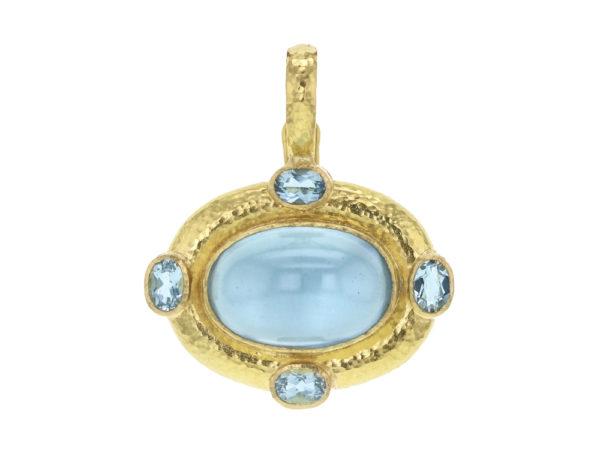 Elizabeth Locke Horizontal Oval Cabochon Aquamarine Pendant With Faceted Aquamarines thumbnail