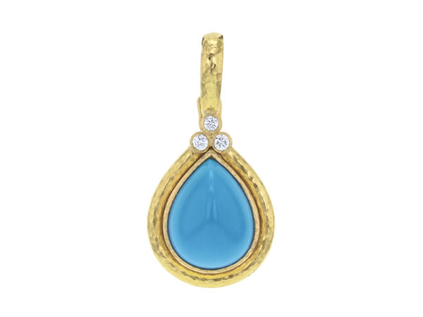 Elizabeth Locke Pear-Shaped Sleeping Beauty Turquoise Pendant With Diamond Triad On Bezel And Thin Hinged Bale thumbnail