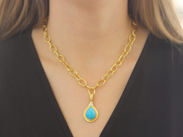 Elizabeth Locke Pear-Shaped Sleeping Beauty Turquoise Pendant With Diamond Triad On Bezel And Thin Hinged Bale