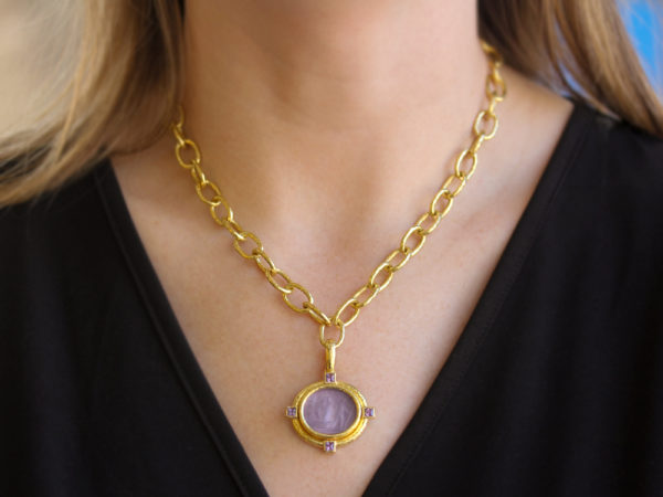 """Elizabeth Locke Mulberry Venetian Glass Intaglio """"Goddess on a Boat"""" Pendant with Faceted Amethyst"""