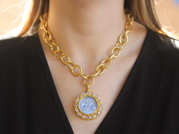 """Elizabeth Locke Cerulean Venetian Glass Intaglio """"Cupid Riding Lion"""" Pendant With Faceted and Cabochon Moonstone"""