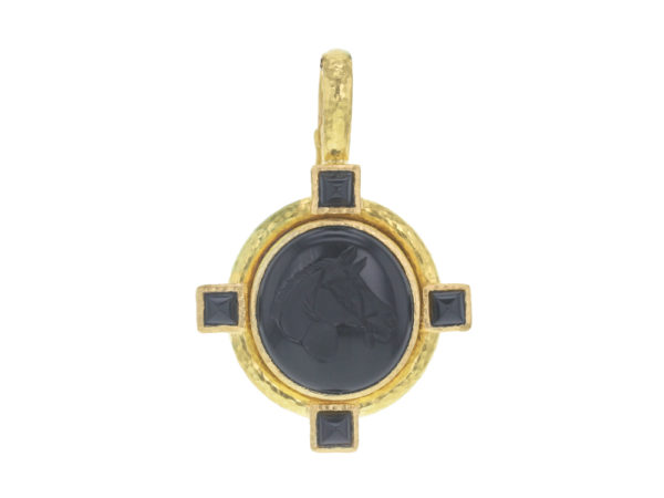 "Elizabeth Locke Vertical Oval Onyx ""Horse Profile"" Seal Pendant Set on Godron Bezel and Thin Hinged Bale thumbnail"