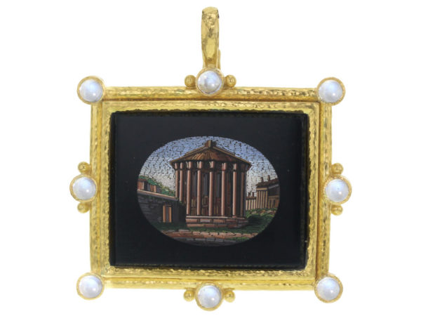 "Elizabeth Locke 19th Century Micromosaic ""Temple of Vesta"" Pendant with Moonstones thumbnail"