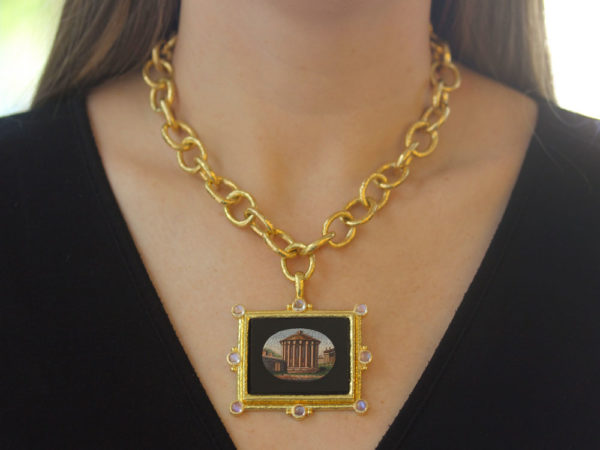 "Elizabeth Locke 19th Century Micromosaic ""Temple of Vesta"" Pendant with Moonstones model shot #1"