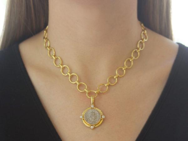Elizabeth Locke Ancient Roman Silver Coin and Diamond Pendant