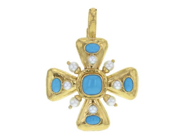Elizabeth Locke Sleeping Beauty Turquoise & Pearl Maltese Cross Pendant thumbnail