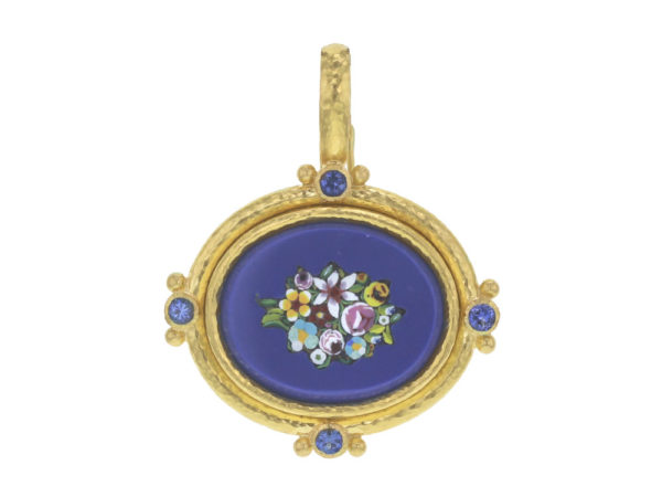 "Elizabeth Locke Horizontal oval 19th Century Micromosaic ""Floral"" Pendant with Faceted Blue Sapphires thumbnail"