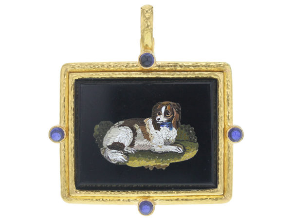 "Elizabeth Locke Large horizontal Cushion 19th Century Micromosaic ""King Charles Spaniel"" Pendant with Blue Sapphire thumbnail"