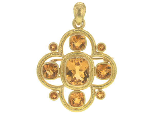 Elizabeth Locke Faceted Citrine Brooch and Pendant with Fold Down Bale thumbnail