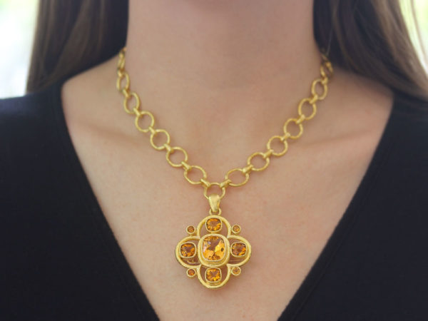 Elizabeth Locke Faceted Citrine Brooch and Pendant with Fold Down Bale