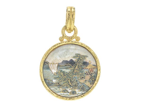 "Elizabeth Locke Antique Satsuma Button ""Landscape with Waterfall"" Pendant thumbnail"