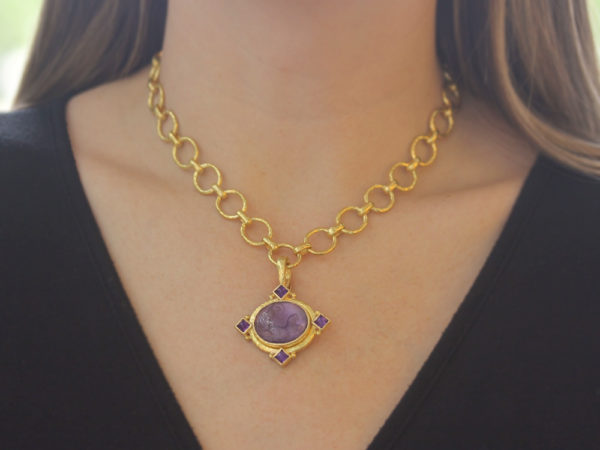 """Elizabeth Locke Mulberry Venetian Glass Intaglio """"Cabochon Goddess with Chariot"""" Pendant with Faceted Amethyst"""