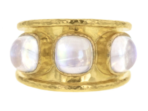 Elizabeth Locke Cabochon Cushion Moonstone Cigar Band with Tapered Back thumbnail