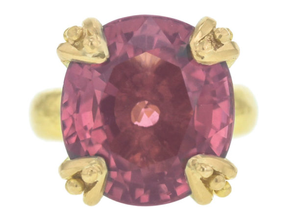 Elizabeth Locke Cushion Faceted Pink Tourmaline Ring with Granulated Prongs thumbnail