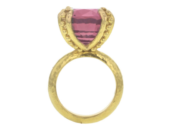 Elizabeth Locke Cushion Faceted Pink Tourmaline Ring with Granulated Prongs model shot #3