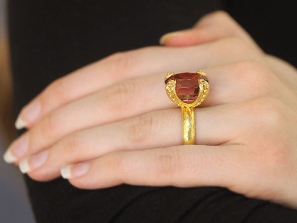 Elizabeth Locke Cushion Faceted Pink Tourmaline Ring with Granulated Prongs model shot #2