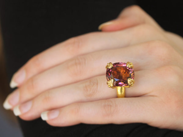 Elizabeth Locke Cushion Faceted Pink Tourmaline Ring with Granulated Prongs