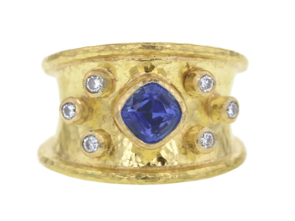 Elizabeth Locke Blue Sapphire and Diamond Tapered Cigar Band thumbnail