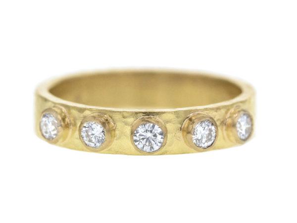 Elizabeth Locke Diamond Flat Ribbon Stack Ring with Diamonds thumbnail