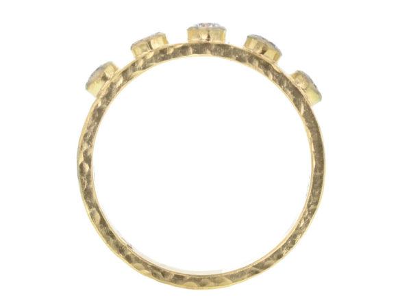 Elizabeth Locke Diamond Flat Ribbon Stack Ring with Diamonds model shot #2