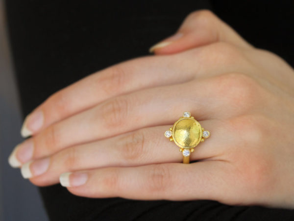 Elizabeth Locke Horizontal Gold Dome Ring with Diamonds and Gold Dots in Thin Shank