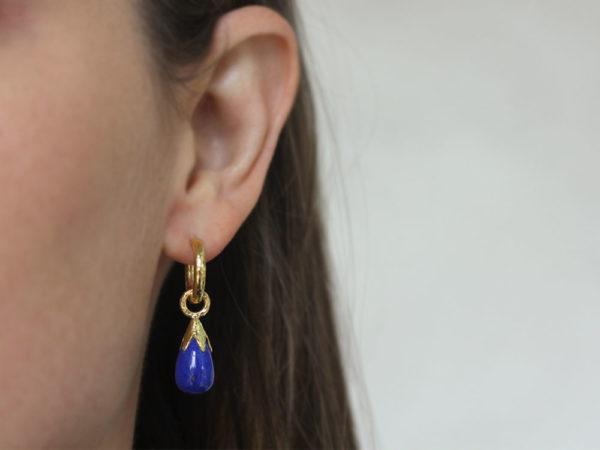 Elizabeth Locke Lapis Drop Earring Charms With Eggplant Cap